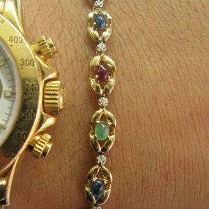 Jewelry - Ruby Emerald Sapphire & Diamond Tennis Bracelet So